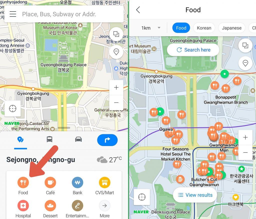 Cómo buscar un restaurante en Naver Maps.