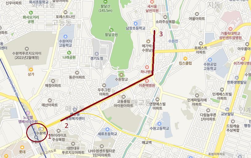Ruta en autobus desde Suwon Station hasta Paldalmun, la muralla de Suwon.