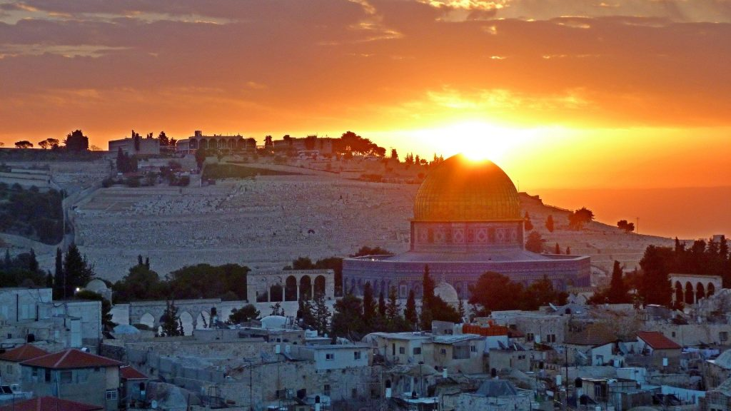Puesta de sol en Jerusalén, uno de los destinos a visitar en el área.